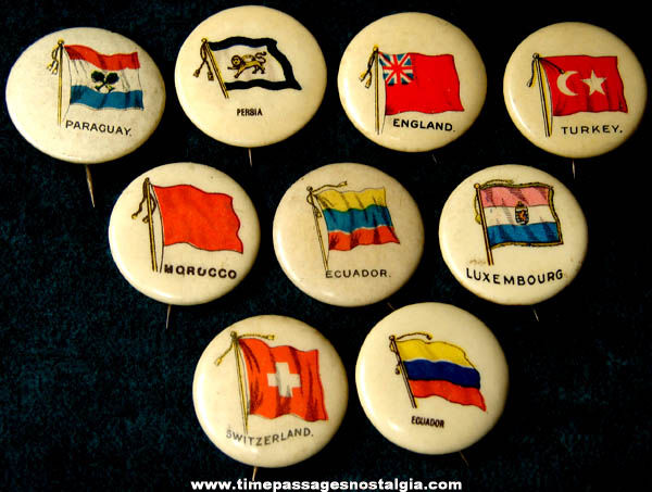 (9) Old Celluloid Sweet Caporal Cigarette Advertising Premium Country Flag Pin Back Buttons