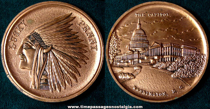 Large Old Washington D.C. Capitol Building Advertising Souvenir Lucky Penny