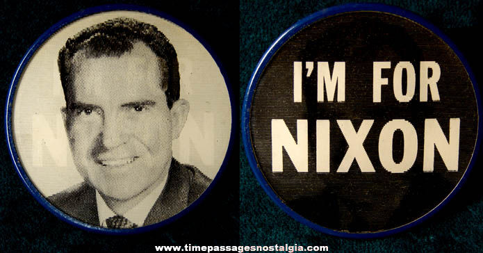 Old United States President Richard Nixon Flicker Pin Back Button Badge