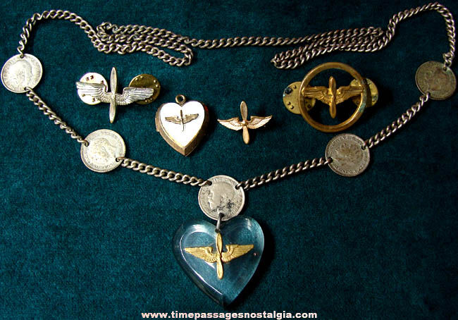 (5) Old United States Army Air Corps Pins & Sweetheart Jewelry Items