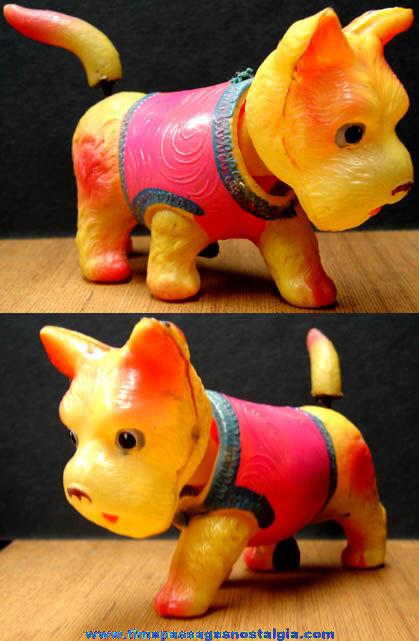 Old Painted Celluloid Occupied Japan Novelty Wind Up Toy Scottie Dog Nodder Figurine