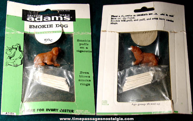 �1958 Unused Adams Novelty Smoking Dog With Miniature Cigarettes