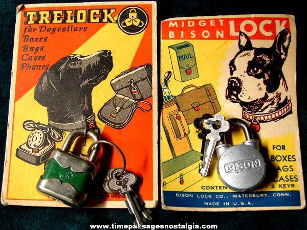 (2) Old Unused & Carded Miniature Padlocks With Keys