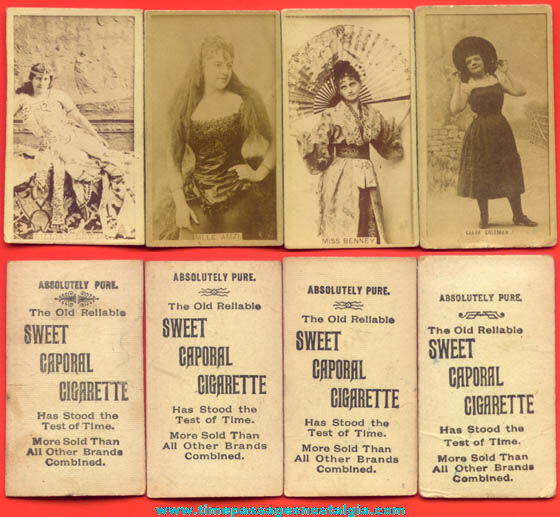 (4) 1800s Sweet Caporal Cigarettes Premium Pretty Lady Trading Cards
