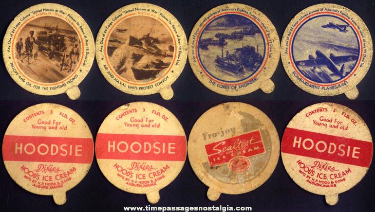 (4) World War II Military Hoodsie & Sealtest Ice Cream Cup Premium Lids
