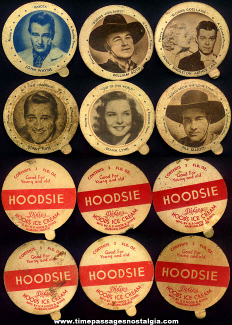 (6) Different Old Movie Star Hoodsie Ice Cream Cup Premium Lids