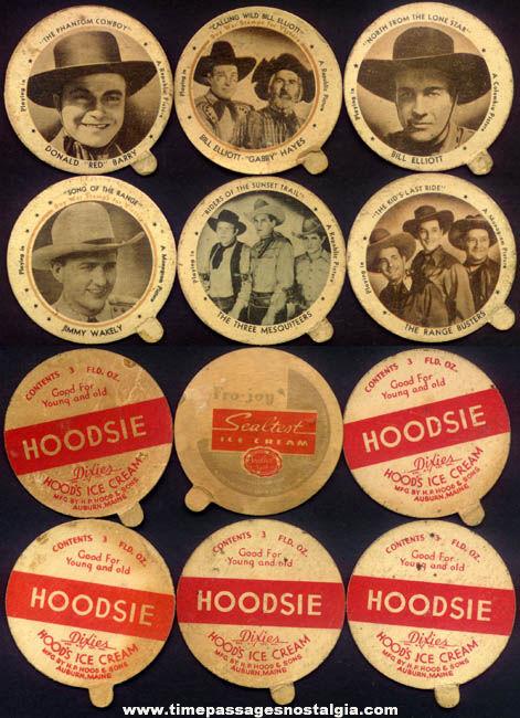 (6) Different Old Movie Star Hoodsie & Sealtest Ice Cream Cup Premium Lids