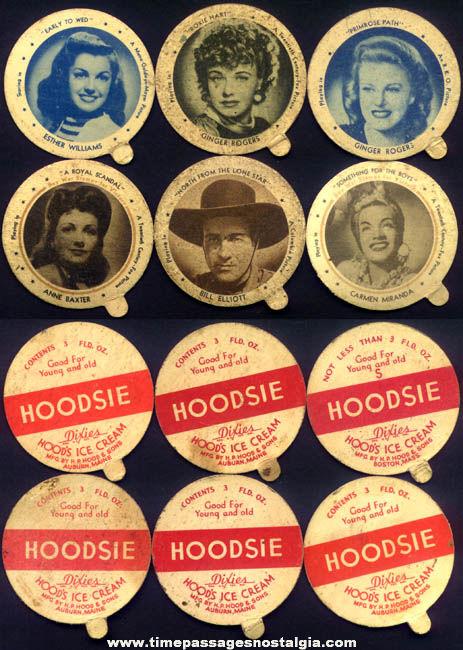 (6) Different Old Movie Star Hoodsie Ice Cream Cup Premium Lids