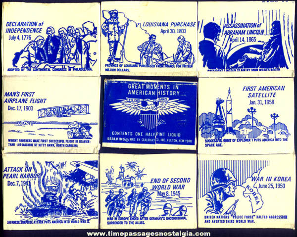 (104) Old Clovervale Dairy Milk Carton Great Moments In American History Trading Cards