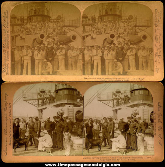 (2) 1800s U.S.S. Iowa Battleship & Crew Stereoview Photograph Cards