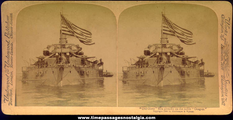 1899 U.S.S. Oregon Battleship Stereoview Photograph Card