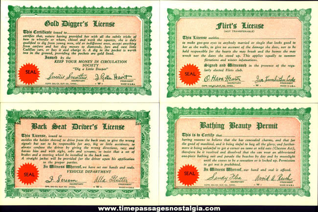 (30) Unused �1941 License To Do Anything Exhibit Supply Arcade Cards