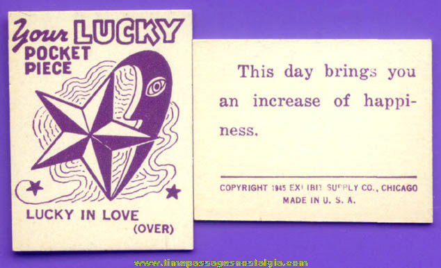 (50) �1945 Lucky Pocket Piece Exhibit Supply Arcade Fortune Cards