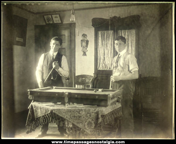 Old Victorian Interior Photograph With Miniature Billiards Pool Table