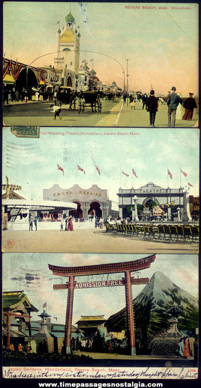 (3) 1907 - 1908 Wonderland Amusement Park Revere Beach Massachusetts Post Cards