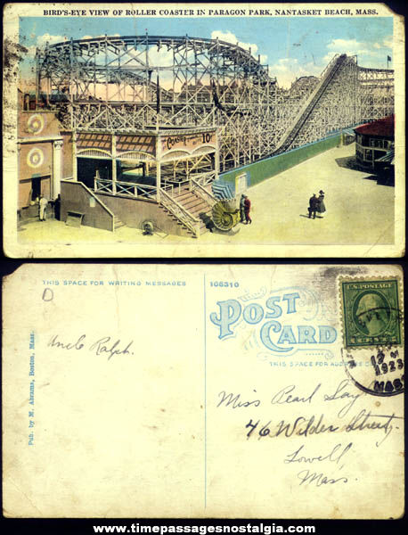 1923 Paragon Amusement Park Roller Coaster Nantasket Beach Massachusetts Post Card