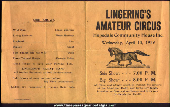 1929 Lingering's Amateur Circus Advertisng Program