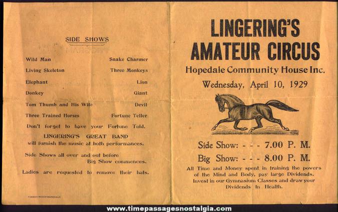 1929 Lingering's Amateur Circus Advertisng Program