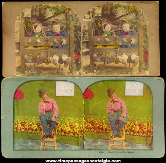 (2) Old Humor Stereoscopic or Stereoview Photograph Cards