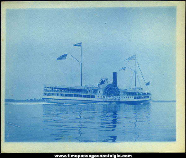 Old S.S. New York Side Wheel Steamship Photograph