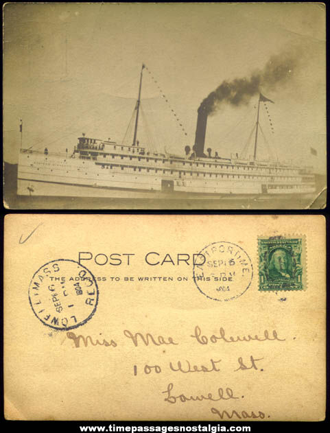 1904 Eastern Steamship Company S.S. Calvin Austin Ship Real Photo Post Card