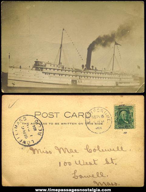 1904 Eastern Steamship Company S.S. Calvin Austin Ship Real Photo Post Card