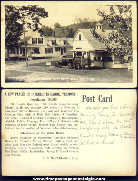 Old Barre Vermont White House Advertising Real Photo Post Card