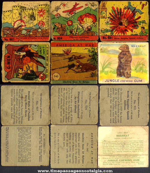 (6) Different Old Non Sports Bubble Gum Trading Cards