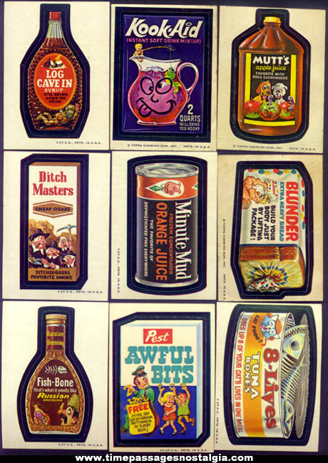 (9) Early Topps Wacky Packages Non Sports Trading Card Stickers