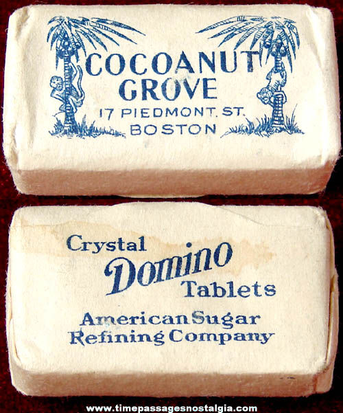 Old Unused Boston Massachusetts Cocoanut Grove Advertising Sugar Cube Packet
