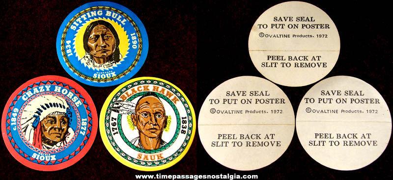(3) Unused ©1972 Ovaltine Premium Native American Indian Stickers
