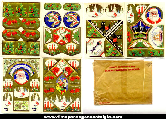 1938 Bakers Chocolate Advertising Premium Christmas Stickers With Envelope