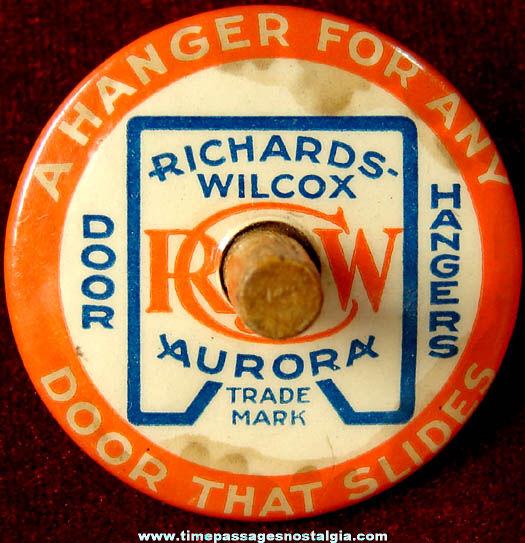 Old Richards Wilcox Aurora Door Hangers Advertising Premium Spinning Top