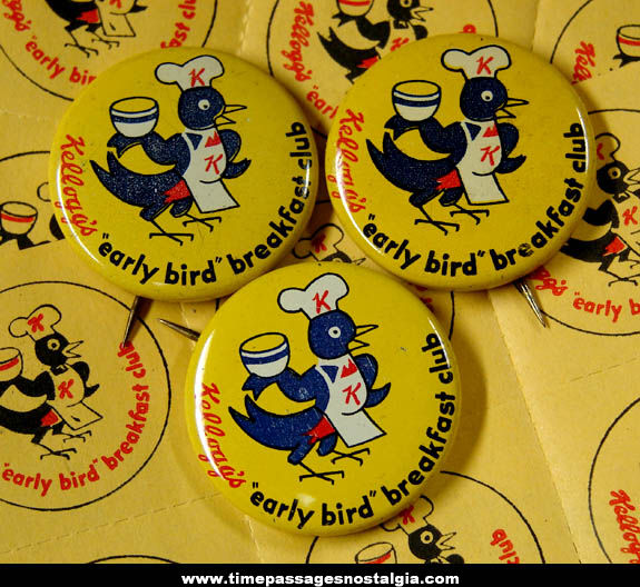 (33) Old Kellogg's Cereal Early Bird Breakfast Club Advertising Pin Back Buttons & Stickers