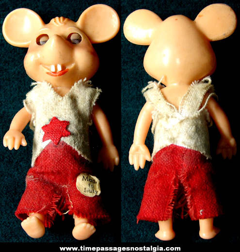 Small Old Italian Topo Gigio Mouse Character Doll Toy Figure