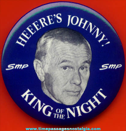 Large Old Johnny Carson King of the Night Pin Back Button
