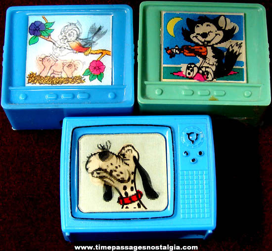 (3) 1960s Television Pencil Sharpeners With Cartoon Flicker Pictures