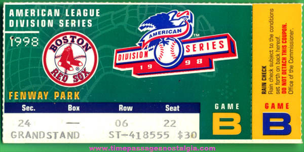 1998 Boston Red Sox American League Division Series Baseball Ticket Stub