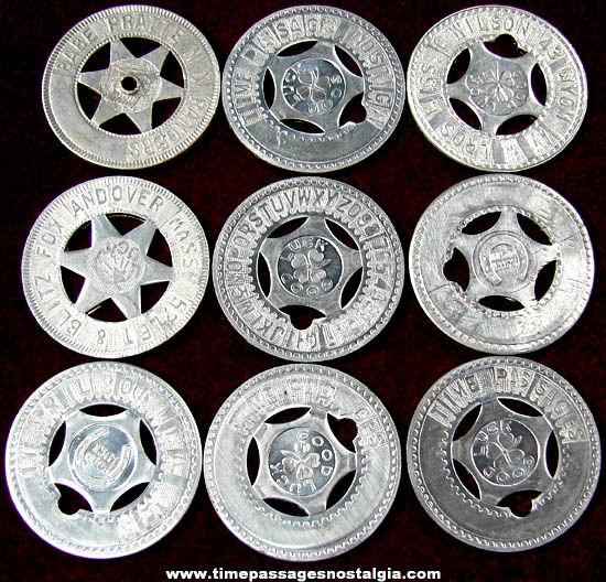 (9) Old Arcade Souvenir Personalized Good Luck Token Coins