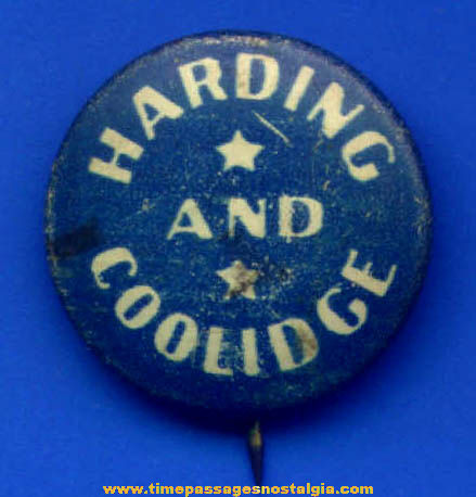 1920 Harding and Coolidge Political Campaign Pin Back Button