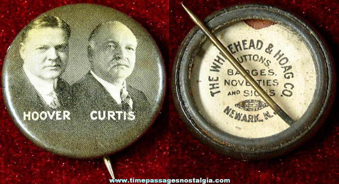 1928 Herbert Hoover & Charles Curtis Political Campaign Pin Back Button
