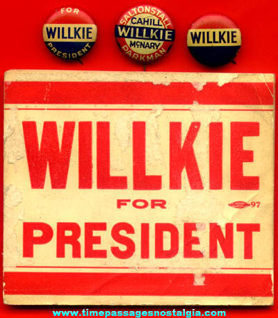 (4) Old Wendell Willkie Political Campaign Items