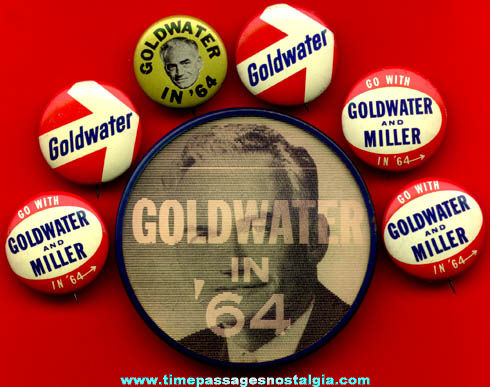 (7) 1964 Barry Goldwater Political Campaign Pin Back Buttons