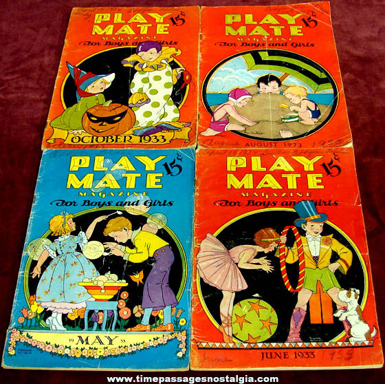 (4) Different 1933 Play Mate Magazines For Boys and Girls
