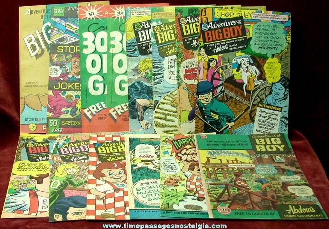 (14) Old Unused Big Boy Restaurant Advertising Premium Comic & Activity Books