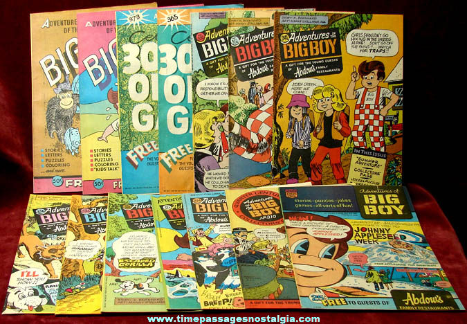 (14) Old Unused Big Boy Restaurant Advertising Premium Comic & Activity Books