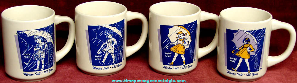 Set of (4) Different Morton Salt Advertising Character Coffee Cups