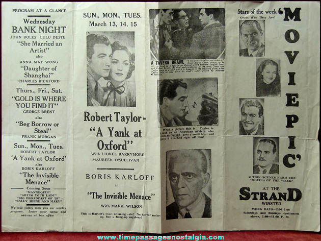 1938 Winsted Strand Movie Theatre Advertising Flyer