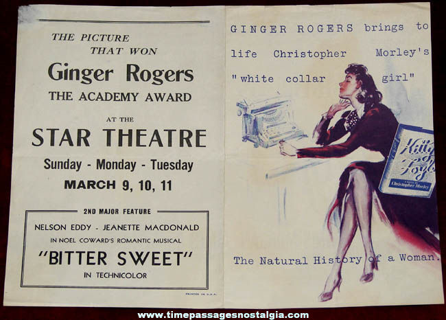1940 Kitty Foyle: The Natural History of a Woman Movie Theatre Advertising Flyer