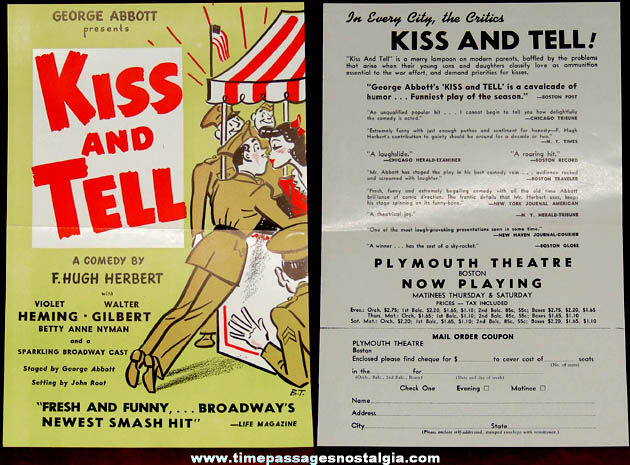 1940s Broadway Comedy ''Kiss and Tell'' Theatre Advertising Flyer